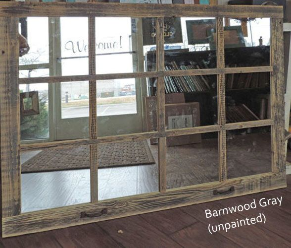 "Window Pane Mirror --46"" X 36"" Painted Barnwood Homesteader Style by ABWframes on Etsy https://www.etsy.com/listing/192707281/window-pane-mirror-46-x-36-painted"