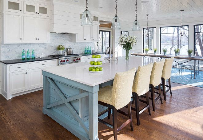 """Lake House with Coastal Interiors - """"Blue Island Paint Color"""" (Benjamin Moore 2135-40 Province Blue)"""