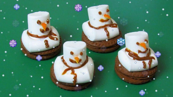 Как сделать веселого тающего снеговика из печенья и зефира - Простой и в...