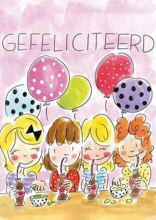 Gefeliciteerd (4 meiden aan de cola, met ballonnen) - Blond Amsterdam