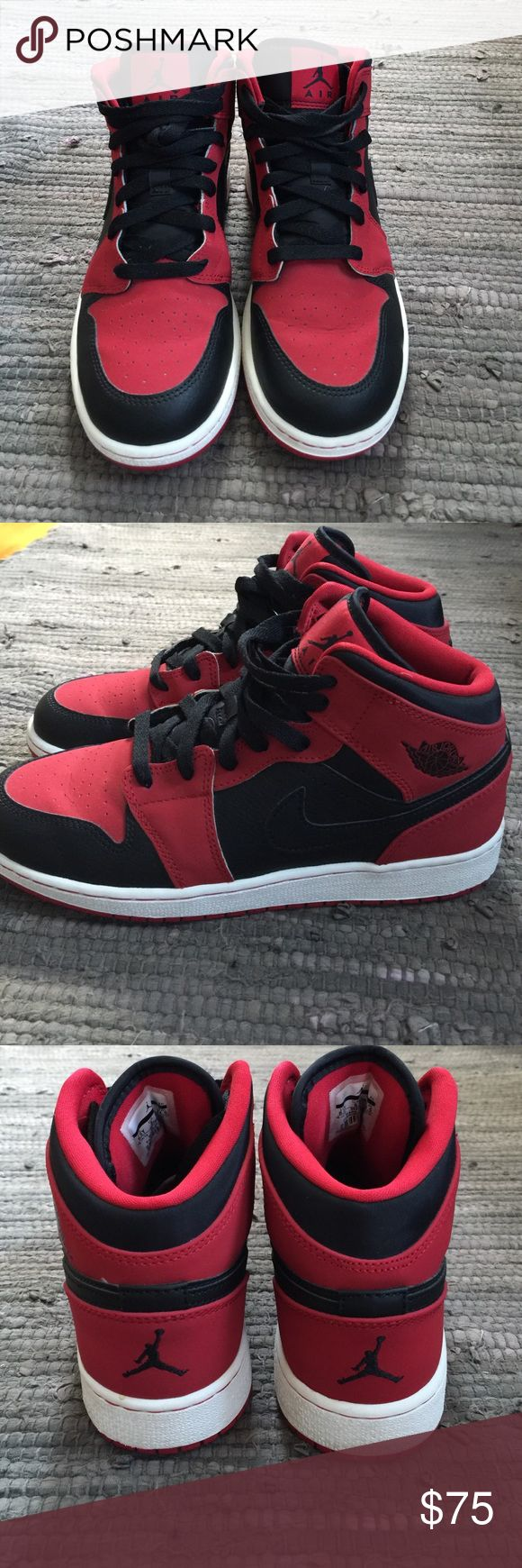 Air Jordan 1's black and red. women's size 7-7.5 Red and Black  Air Jordan 1's. Very lightly worn practically new. Seen on Kylie Jenner Jordan Shoes Sneakers
