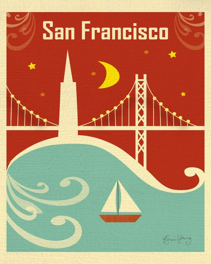 San Francisco, California - Bay Bridge, is available in an array of finishes, materials, and sizes, this retro inspired wall art will make San Francisco feel close to your heart with its bright color