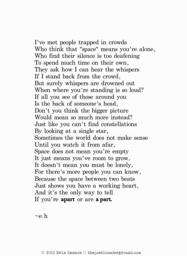 Apart or a part. Great poem. Love that line