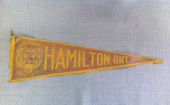 Vintage Satin Pennant  Hamilton Ontario by SalvageStyleDesign, $4.99