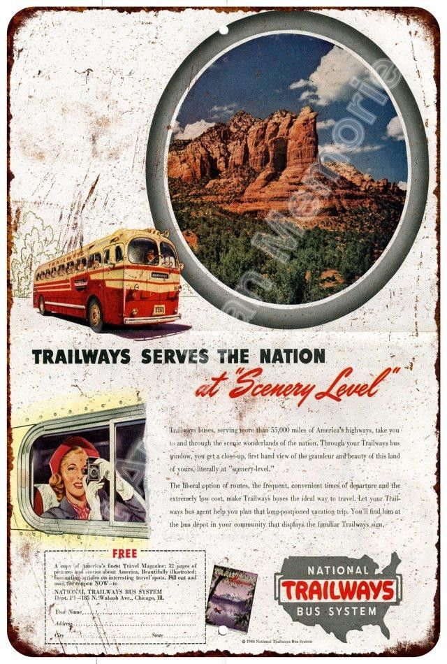 1946 National Trailways Bus System Reproduction Metal Sign 8x12 8123357