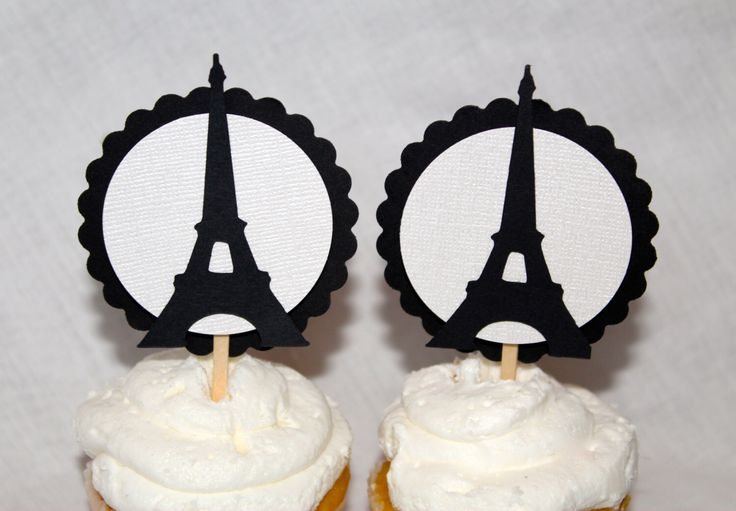 black and white eiffel tower cupcake toppers birthday bridal shower baby shower