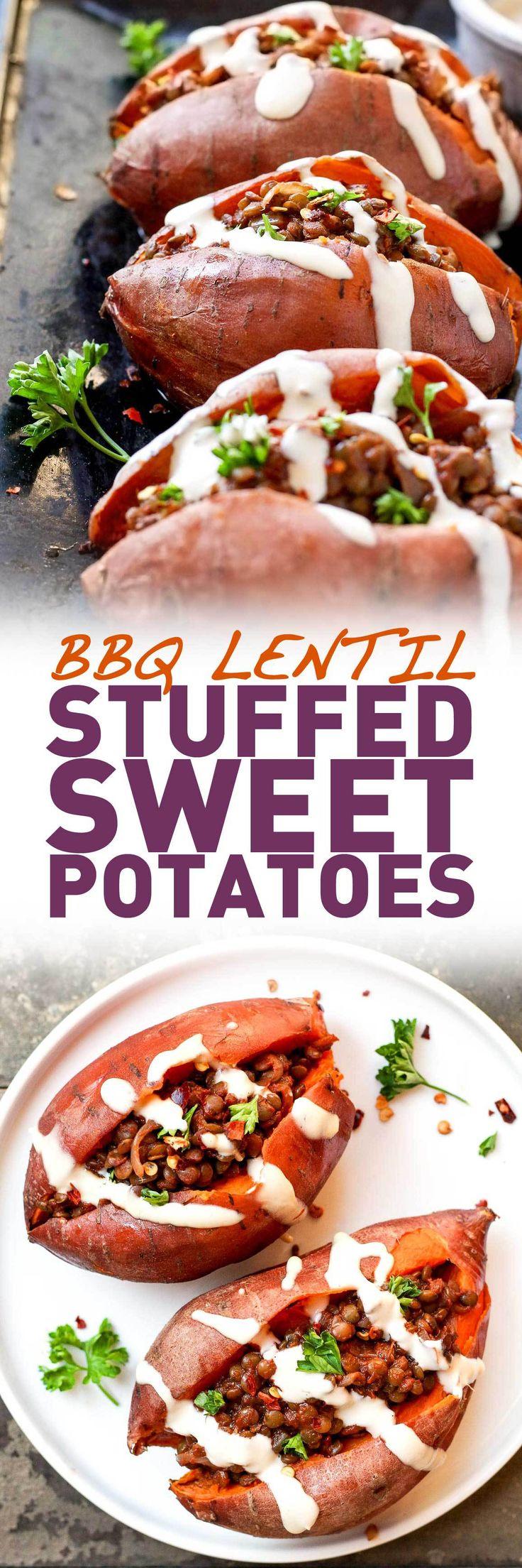 BBQ Lentil Stuffed Sweet Potatoes (use fire roasted tomatoes!)