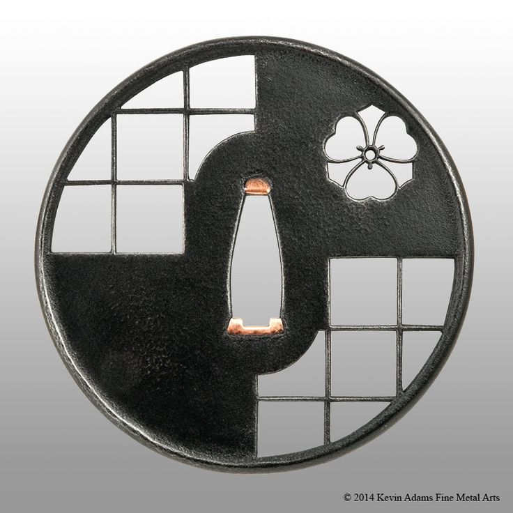 Tsuba with a combination motif of katabami mon and shoji screens. The shoji is an ongoing practice exercise in cutting consistent grids, and the mon is that of my iaido sensei. Steel plate with copper sekigane. Omote side. Private collection (OY), Canada.