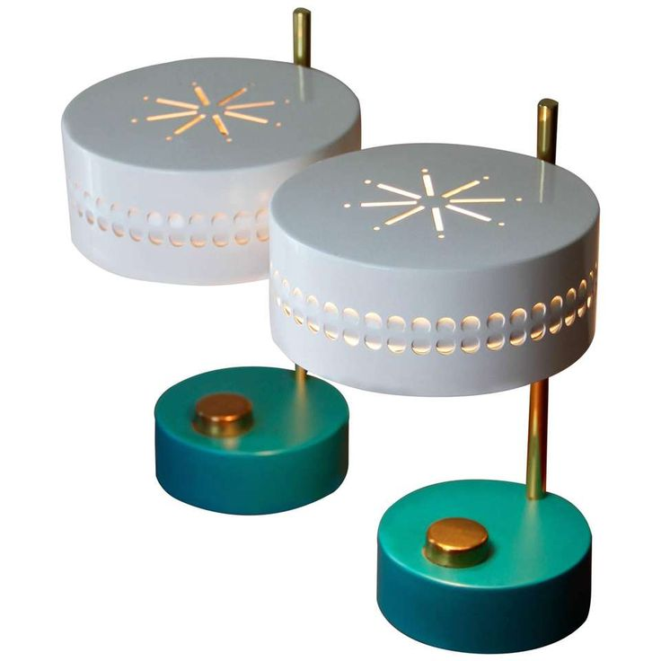 Mid-Century Pair of Teal Green Mathieu Matégot 1950s Bedside Table Lamps 1