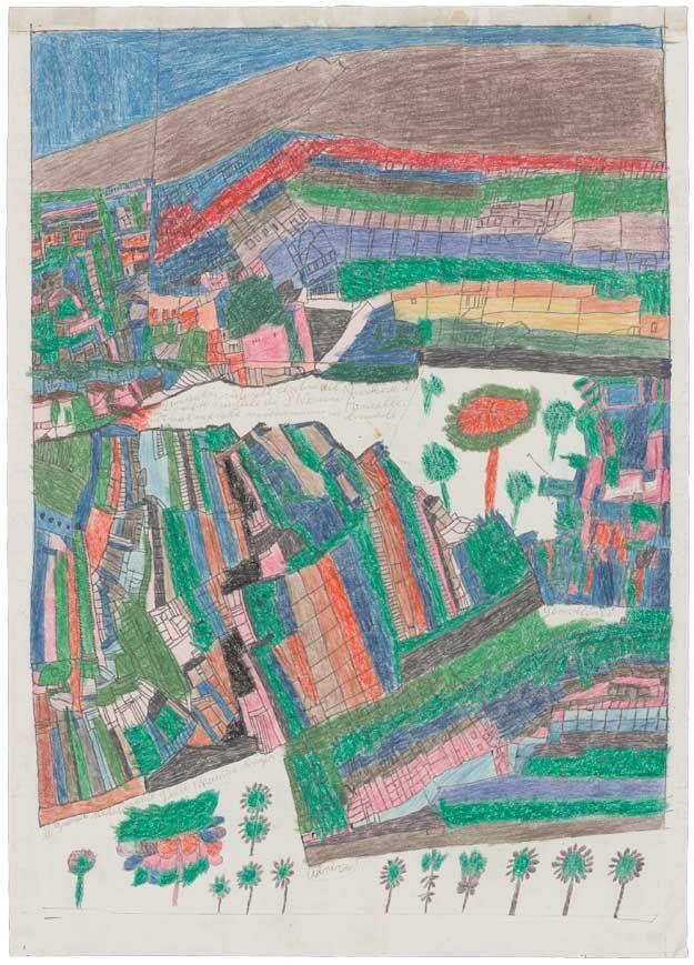 Usine Singer Luigi Brunetti Usine Singer, between 1949 and 1972 ballpoint pen, wax crayon, and coloured pencil on paper 64,1 x 45,7 cm © photo credit Collection de l'Art Brut, Lausanne
