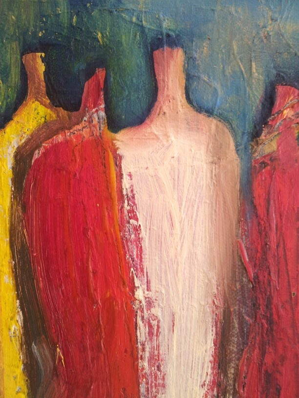 Oil on canvas. friends by Tahmina Stenevik.