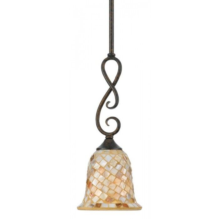 Malaga Shell Mosaic Mini Pendant by Quoizel