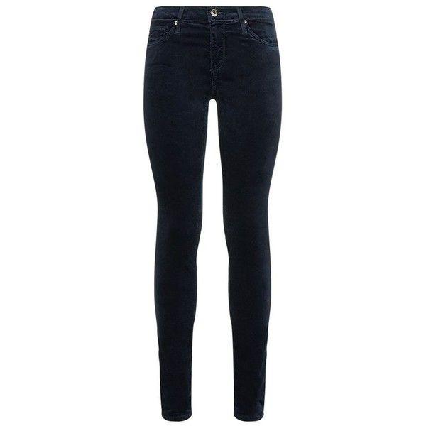 AG Jeans Velvet Skinny Jeans ($255) ❤ liked on Polyvore featuring jeans, skinny leg jeans, denim skinny jeans, mid rise jeans, velvet jeggings and jegging jeans