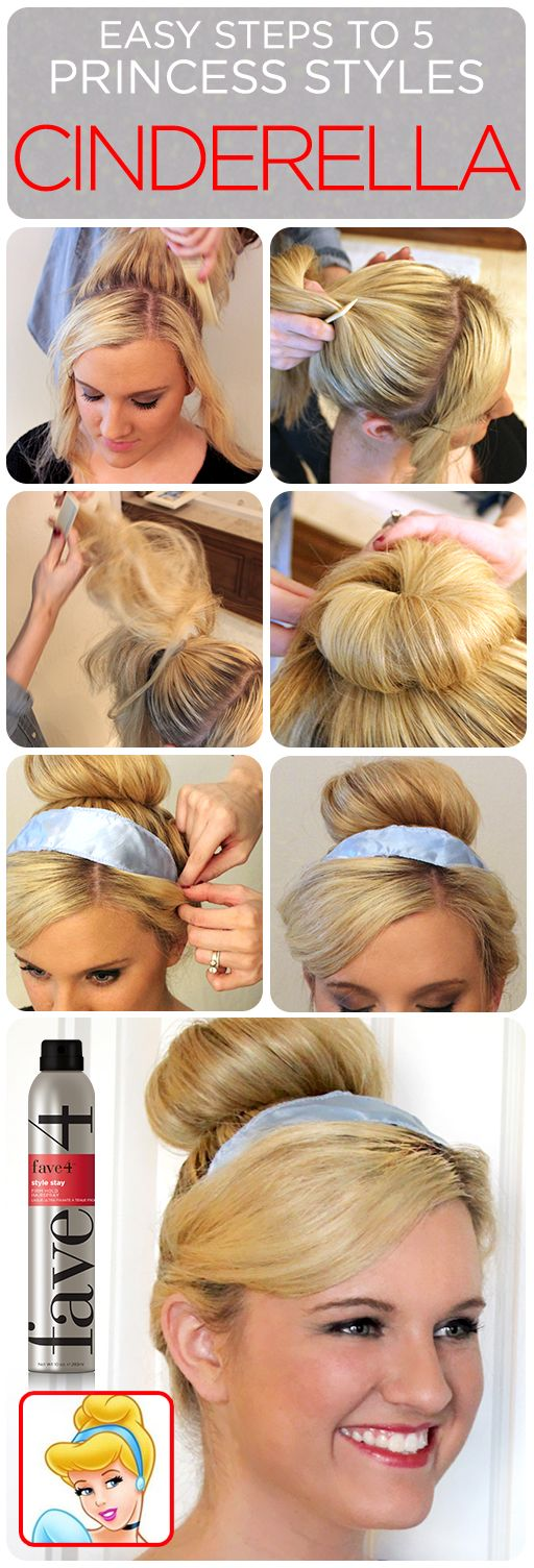 Ready to look like Cinderella at Disney World? Use this Hair Tutorial with 5 Easy Princess Styles...