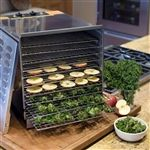 Dehydrator with stainless steel construction, removable door, 10 chrome-plated steel racks
