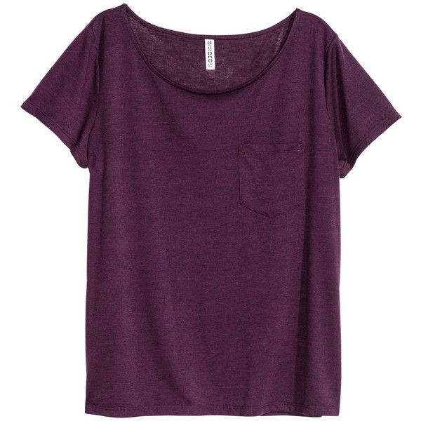 Jersey Top $9.99 ($9.99) ❤ liked on Polyvore featuring tops, t-shirts, short sleeve tops, purple jersey, h&m tops, purple top and jersey top