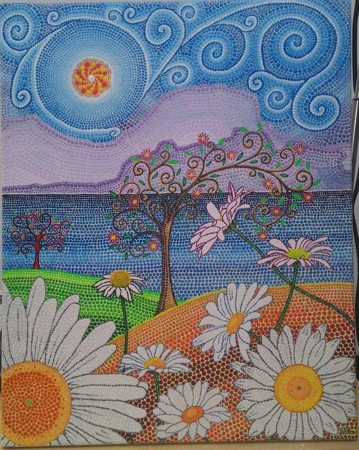 MARGHERITE Tecnica: Puntinismo con colori acrilici Autore: Alessandra Massaccesi