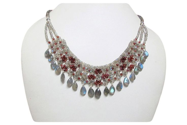 Designer necklace made of mesh of Labradorite & Garnet beads finished with silver findings, Garnet beads jewelry, Labradorite beads necklace by anushruti on Etsy
