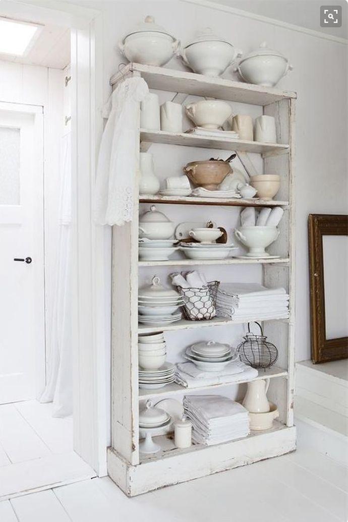 freestanding kitchen cabinets, kitchen storage ideas, furniture in the kitchen, shelves, monochromatic, linen storage, antique
