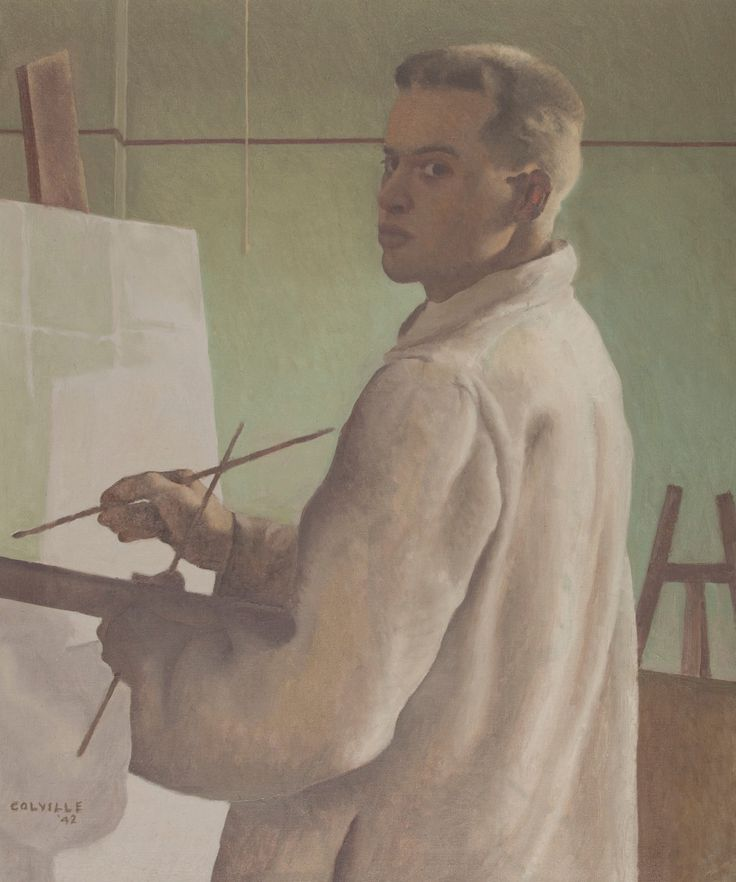 A self-portrait by Alex Colville, created during his student years at Mount Allison University / image courtesy Owens Art Gallery
