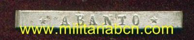 España. Epoca Alfonso XII. Pasador para la Medalla de Distinción de Alfonso XII: Abanto. - Militària BCN