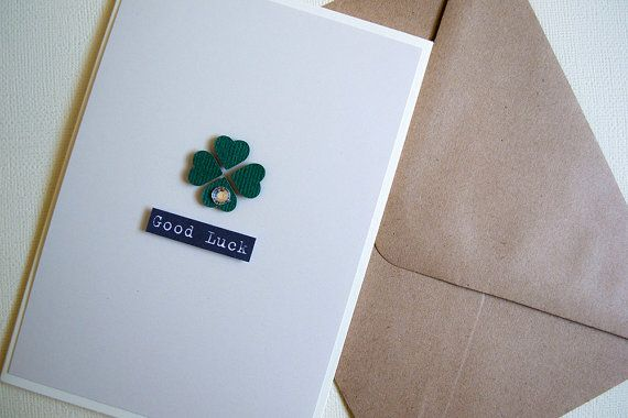 Shamrock  Good Luck Card by  Le Petit Hibou on Etsy, €4.50
