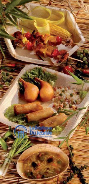 Assiettes jetables en bois de palmier : une hexagonale, une carrée et une petite assiette creuse ronde, bio.  En vente ici : http://www.laboutiquedujetable.fr/31-assiette-bois?p=2