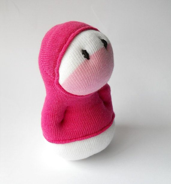 Sock toy Hoodie Huggable, stuffed cute monster kids toy, sock creature pink, plush monster creature toy