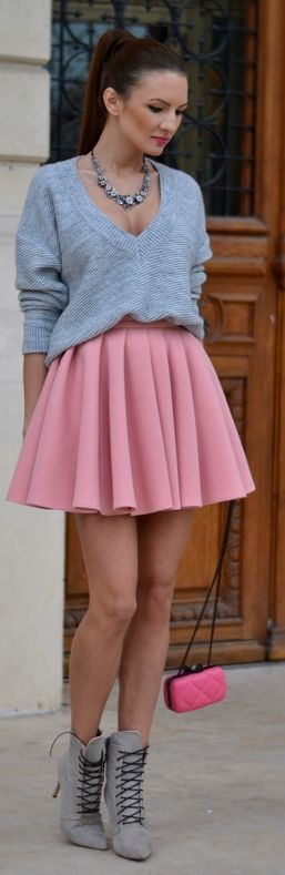 Pink Pleated Mini Skirt by My Silk Fairytale, love the shoes and purse