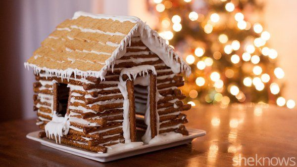 Forget the gingerbread house and make this DIY edible pretzel log cabin instead