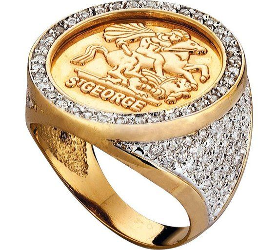 Buy 18ct Gold Plated Sterling Silver CZ Medallion Ring at Argos.co.uk - Your Online Shop for Men's fashion rings, Men's rings, Men's jewellery and cufflinks, Jewellery and watches.