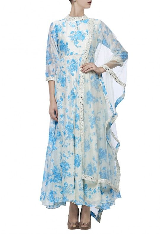 Ivory and aqua floral printed anarkali with sheer mirror border dupatta