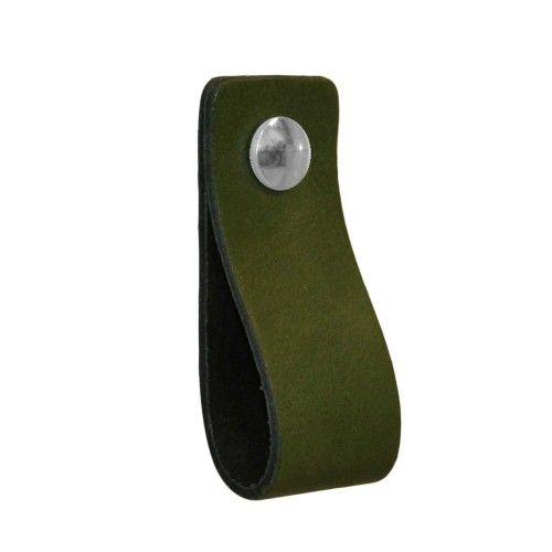 Leren handgreep Khaki donker mos groen - 8x voor zwarte kast