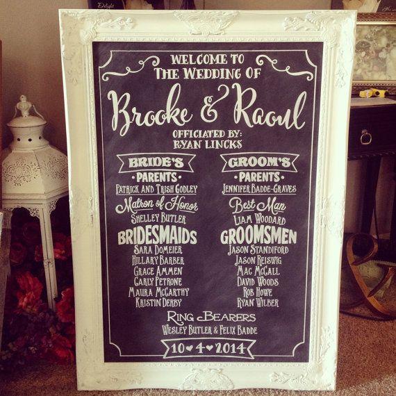 Wedding Program Chalkboard Sign Large Wedding by BeauTiedAffair