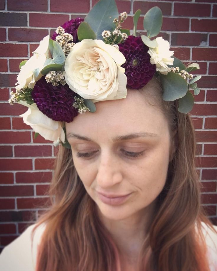 Flower crown of roses, dahlia, tea tree and gum by Hunting Blooms