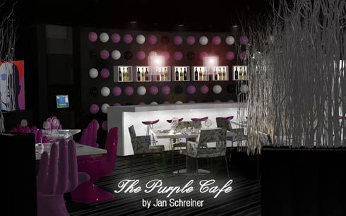 Purple Cafe Interior Design by Jan Schreiner
