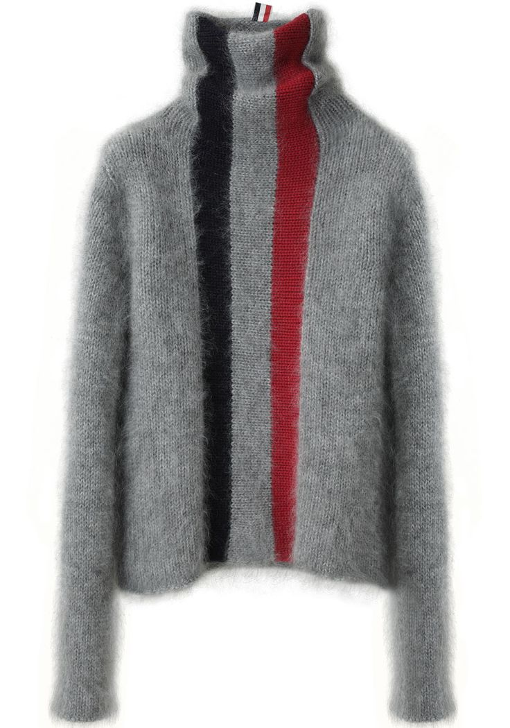 THOM BROWNE / STRIPED TURTLENECK (mohair + cashmere)
