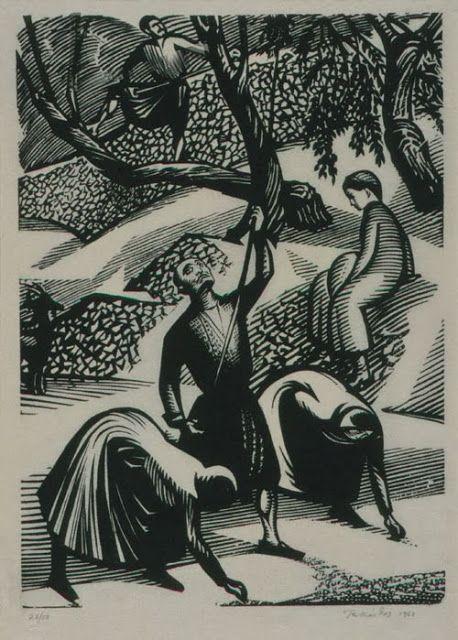 """""""Το Μάζεμα της Ελιάς"""",Τηλέμαχος Κάνθος,ξυλογραφία,1963"""