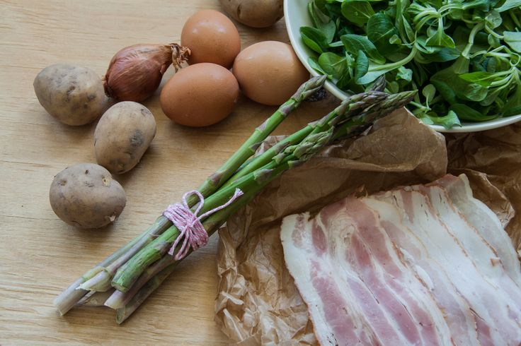 Ingredients for Green asparagus and bacon salad. (Czech green asparagus, Lamb's salad, bacon, eggs, potatoes.) http://www.littlefoodlover.com/2014/05/green-asparagus-and-bacon-salad.html