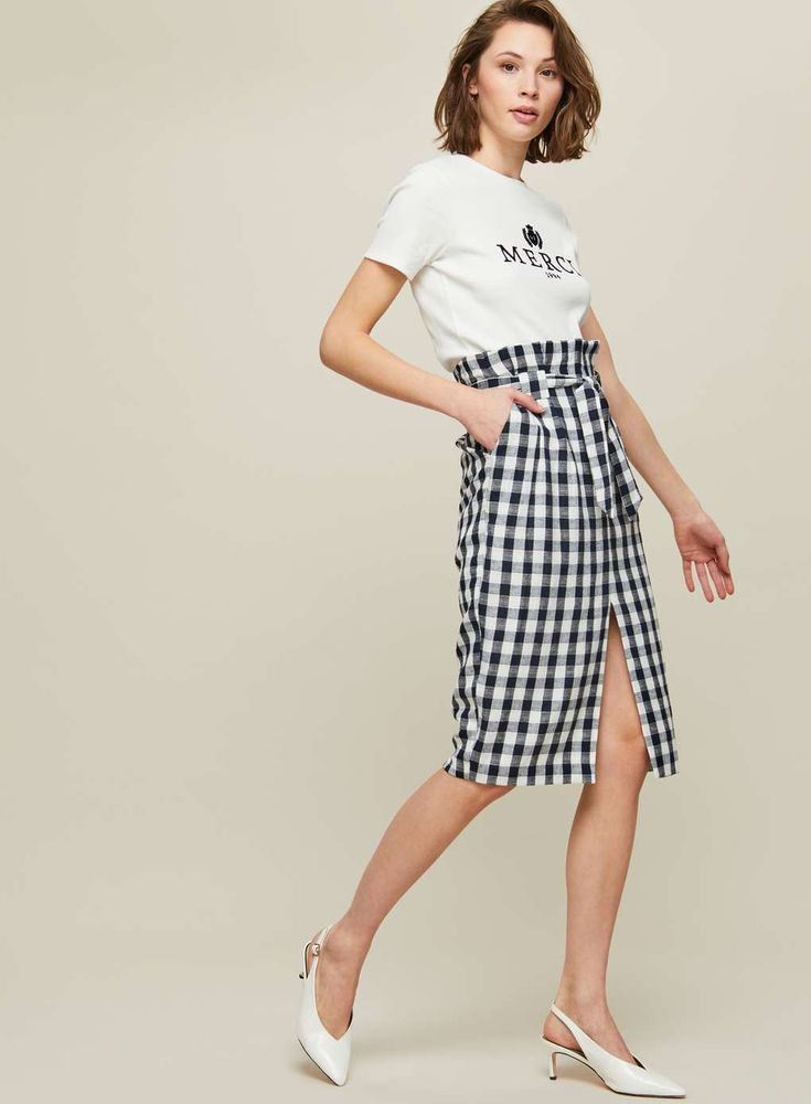 Gingham Checked Paper Bag Pencil Skirt - View All - New In - Miss Selfridge