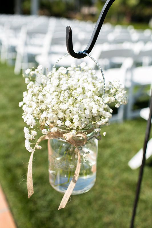 Baby S Breath In A Hanging Mason Jar Tied With Burlap