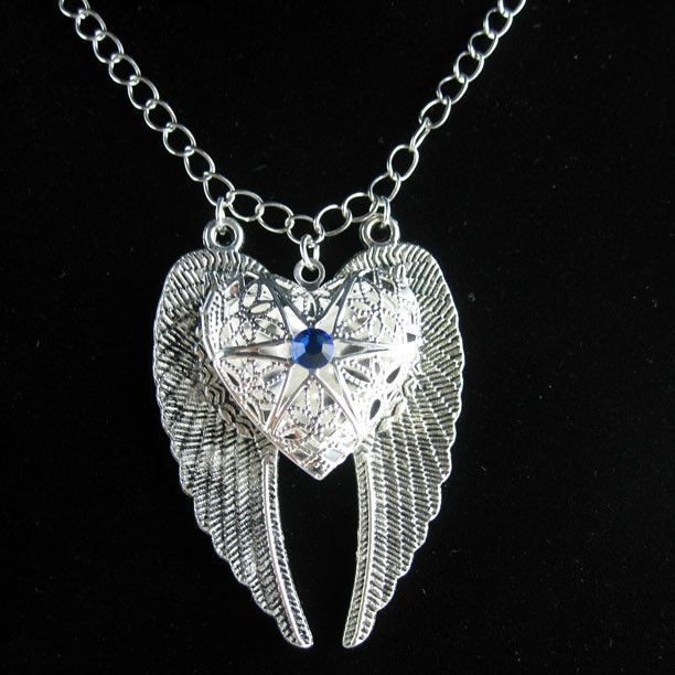 Silver Angel Wing  Blue Sapphire Heart Picture Locket  Charm Pendant Necklace #Locket