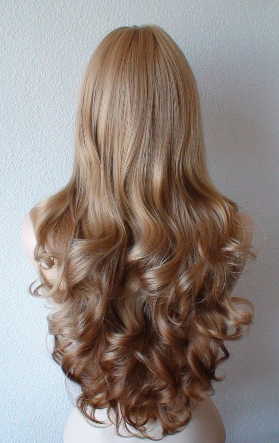 Honey blonde Ombre wig. Long curly volume hair long side ...