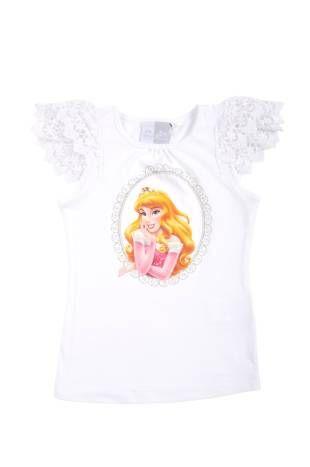 Camiseta para niña, en color blanco y con estampado de la bella durmiente al frente.