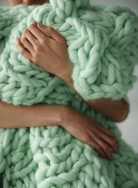 Mint green | fluffy, knitting, knitted throw