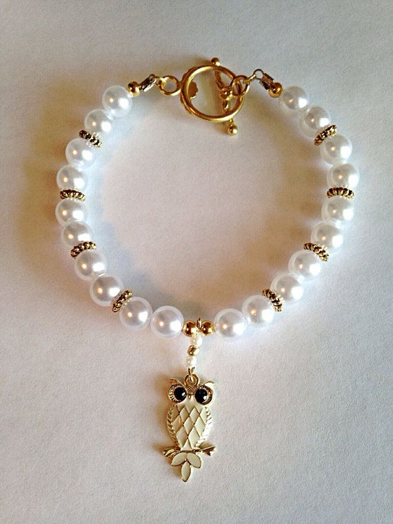 White Gold-Plated Owl Beaded Charm Bracelet  #Etsy #Jewelry