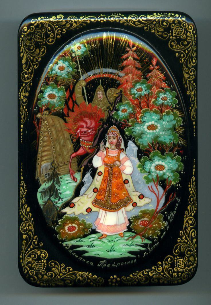 "Russian Lacquer Box Kholui ""Vasilisa The Beautiful"" Hand Painted 