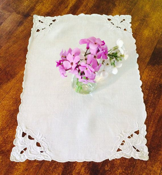 Vintage Table Linen  White Linen Rectangle  by Painting4him