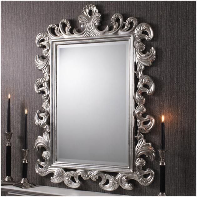 Rococo silver beautiful ornate mirror roccoco baroque for Antique looking wall mirrors