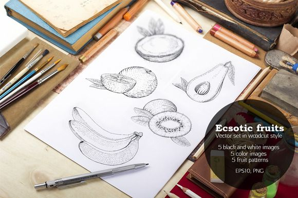 Ecsotic fruits in woodcut style by NinaDolgopolova on Creative Market